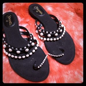 Chanel Black Flat Sandal With Pearls